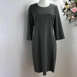 DKNY career dress gray pockets back zipper